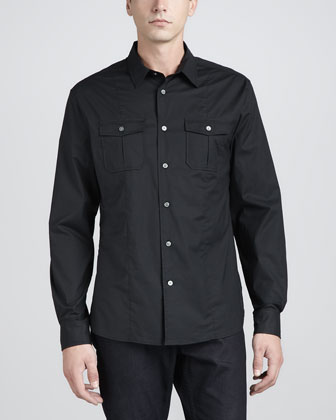 Double Pocket Long-Sleeve Shirt, Black