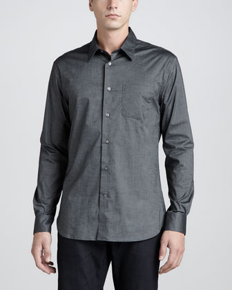 One-Pocket Long-Sleeve Shirt, Dark Gray