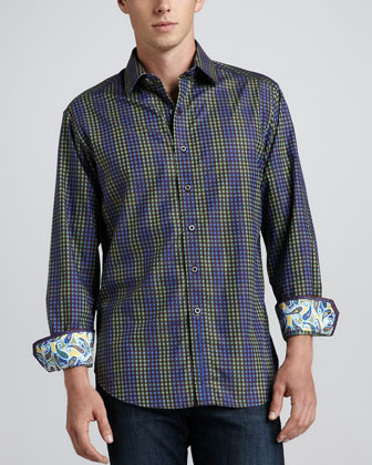 Scoria Mini-Check Sport Shirt, Blue