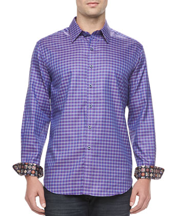Long-Sleeve Sport Shirt, Tumbaga Navy Check