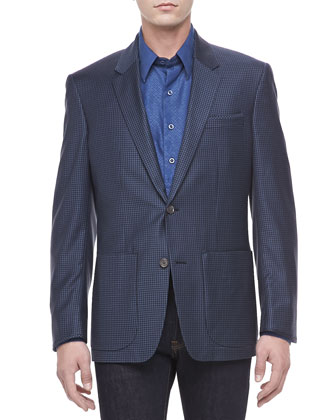 Snipe Check Sport Jacket, Navy Check