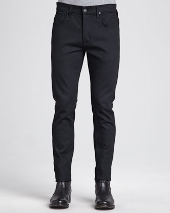 Sartor Raw Black Slim Straight-Leg Jeans