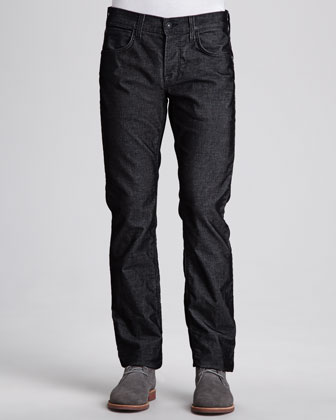 Byron Five-Pocket Cord Jean, Black