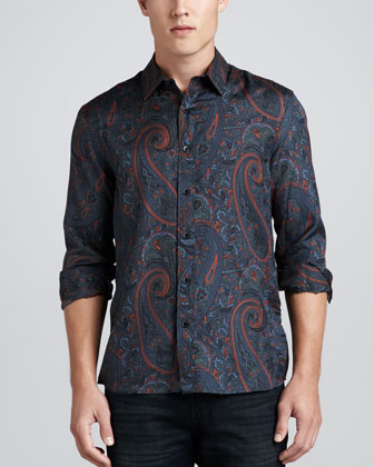 Paisley-Print Tailored Shirt