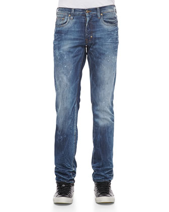 Slim-Fit Jeans with Splattered Look, Blue