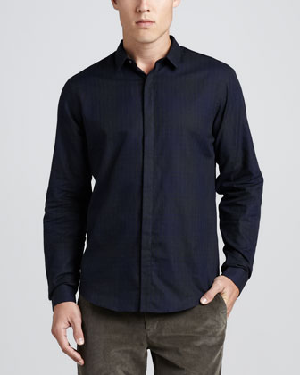 Stephan FF. Tonal Check Shirt, Eclipse