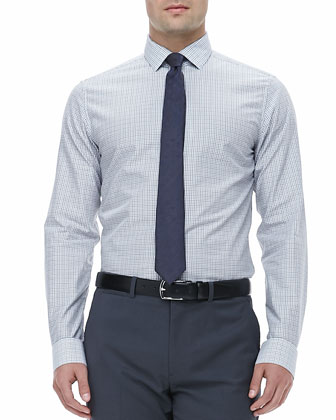 Micro-Grid Dress Shirt, White/Navy