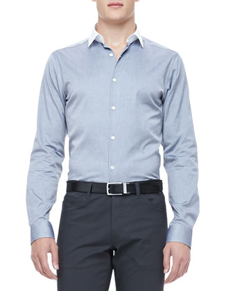 Colorblock-Collar Shirt, Gray