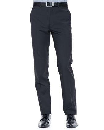 Tonal Micro-Grid Pants, Gray