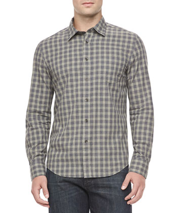 Check Sport Shirt, Medium Green