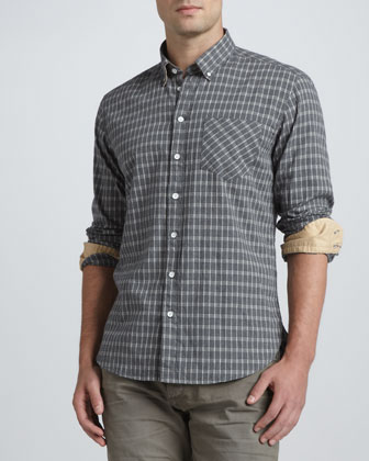Oxford Check Dress Shirt, Gray