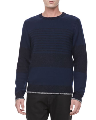 Tonal Stripe Crew Sweater, Navy
