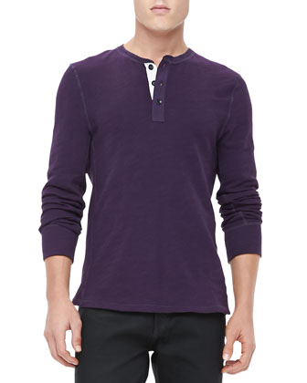 Long-Sleeve Henley, Eggplant