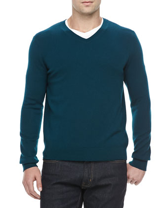Mallard Cashmere V-Neck Sweater, Emerald