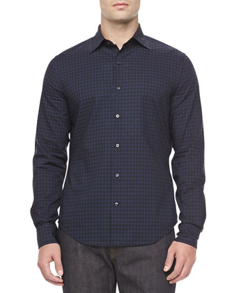 Check Sport Shirt, Blue/Black