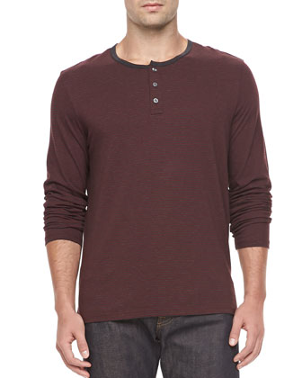 Long-Sleeve Striped Henley, Burgundy