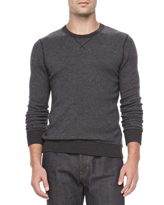 Birdseye Knit Crew Neck Sweater, Black