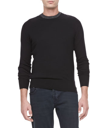 Needle-Punch Check-Shoulder Sweater, Black