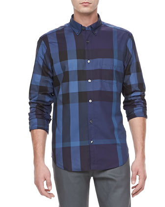Exploded Check Shirt, Navy