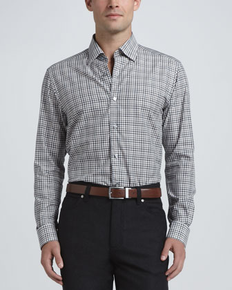 Hombre Open Check Dress Shirt, Navy/Camel