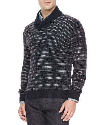 Cashmere Shawl-Collar Sweater, Navy