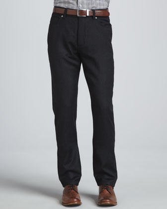Five-Pocket Wool Flannel Pants, Charcoal