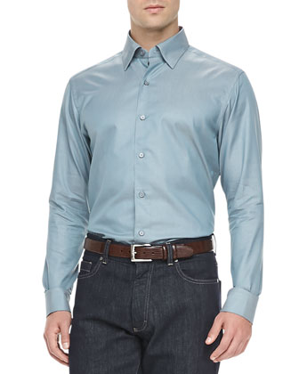 3-Ply Cotton Shirt, Light Petrol Blue