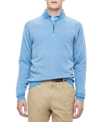 Twill-Effect Cashmere 1/4-Zip Sweater, Marina
