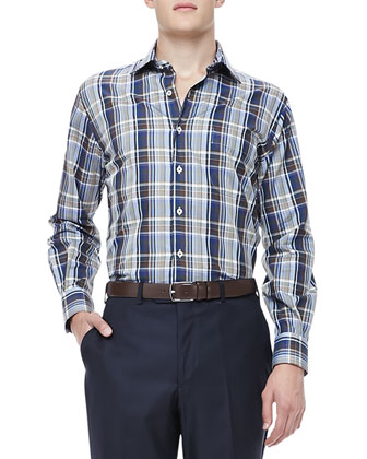 Herringbone Plaid Shirt, Navy