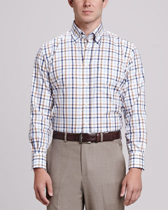 Tattersall Sport Shirt, Blue/Brown