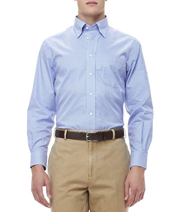 Gingham Sport Shirt, Blue/White