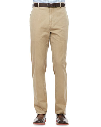 Cashmere One-Quarter Zip Pullover, Gingham Sport Shirt & Washed Twill Pants