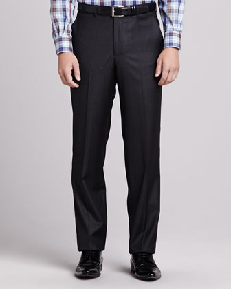 Loro Piana Italian Wool Pants, Charcoal