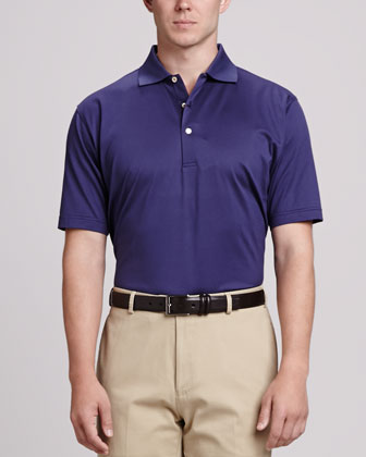Solid Polo Shirt & Straight-Leg Cotton Pants