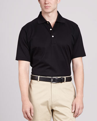 Solid Polo Shirt, Black