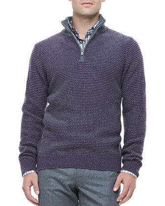 Cashmere Quarter-Zip Pullover, Purple