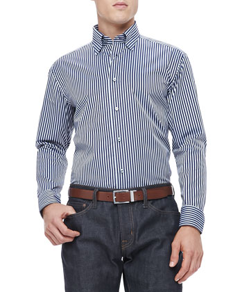 Herringbone-Striped Shirt