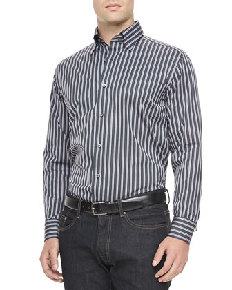 Multi-Stripe Sport Shirt, Charcoal/Purple