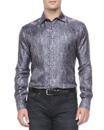 Geometric-Print Sport Shirt, Gray