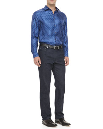 Geometric Print Silk Sport Shirt, Blue