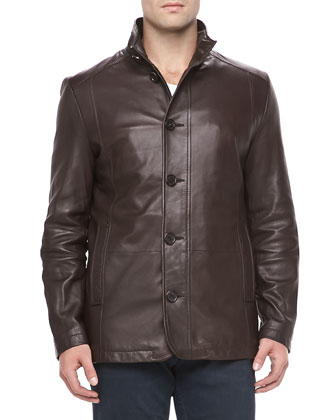 Smooth Leather Jacket, Brown