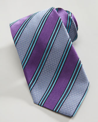 Wide-Stripe Silk Tie, Purple