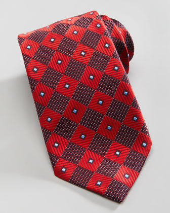 Diagonal Box Silk Tie, Red