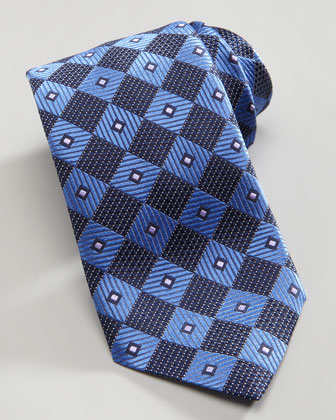 Diagonal Box Silk Tie, Blue