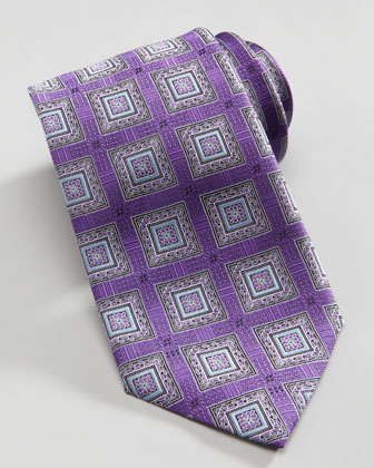 Square Medallion Silk Tie, Purple