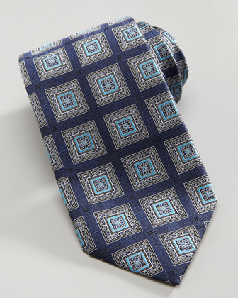 Square Medallion Silk Tie, Navy