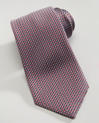 Fisheye Neat Silk Tie, Burgundy