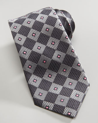 Diagonal Box Silk Tie, Gray