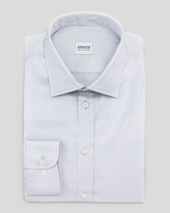 Cotton Tonal-Stripe Shirt, Pearl Gray