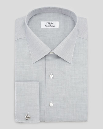 Micro-Dot Cotton Shirt, Gray